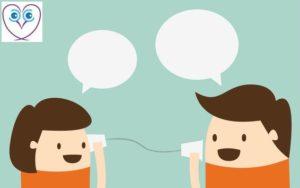 Cartoon couple communicating