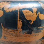 Vase showing odysseus and the sirens